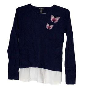 INC blue waffle knit thermal embroidered top med